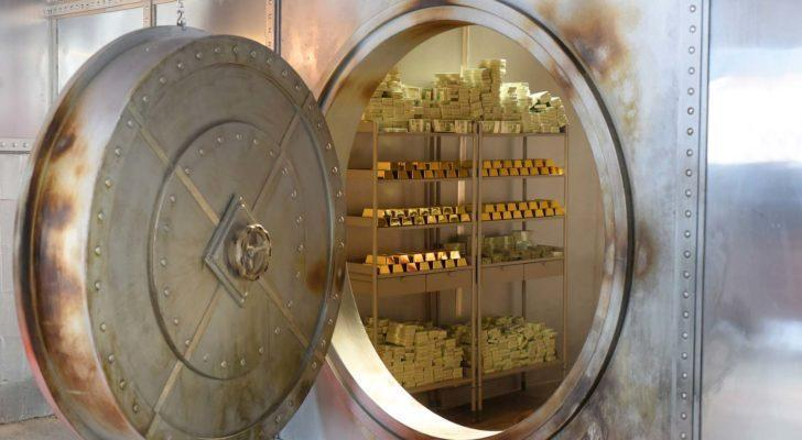 gold stored in a vault to represent gold stocks