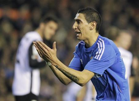 Real Madrid's Maria celebrates after he scored against Valencia during their Spanish first division soccer match in Valencia