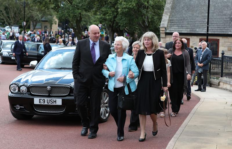 Wife Pat (centre) outside West Road Crematorium, in Newcastle arriving for the funeral of Jack Charlton. The former Republic of Ireland manager, who won the World Cup playing for England, died on July 10 aged 85.