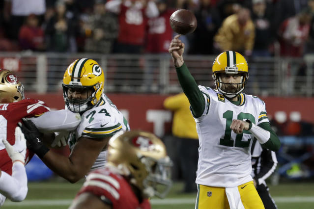 Green Bay Packers quarterback Aaron Rodgers passes against the San Francisco 49ers during the second half of the NFL NFC Championship football game Sunday, Jan. 19, 2020, in Santa Clara, Calif. (AP Photo/Matt York)