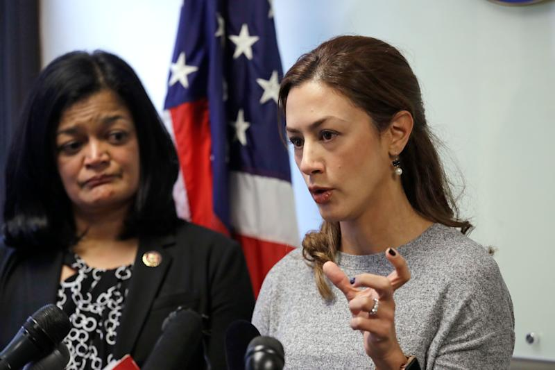 At a news conference on Jan. 6, 2020, in Seattle, Rep. Pramila Jayapal (D-Wash.) looks on as Negah Hekmati speaks about her hourslong delay returning to the U.S. from Canada with her family. The Washington state chapter of the Council on American-Islamic Relations said more than 60 Iranians and Iranian Americans were detained and questioned at the Peace Arch Border Crossing in Blaine, Washington. (Photo: AP Photo/Elaine Thompson)