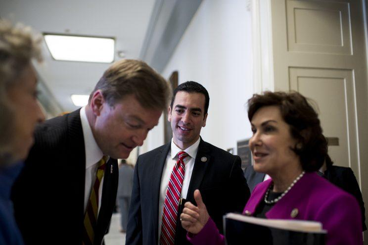 Rep. Dina Titus, D-Nev.; Sen. Dean Heller, R-Nev.; Rep. Ruben Kihuen, D-Nev. and Rep. Jacky Rosen, D-Nev. outside a Capitol hearing room. (Photo: Bill Clark/CQ Roll Call/Getty Images)