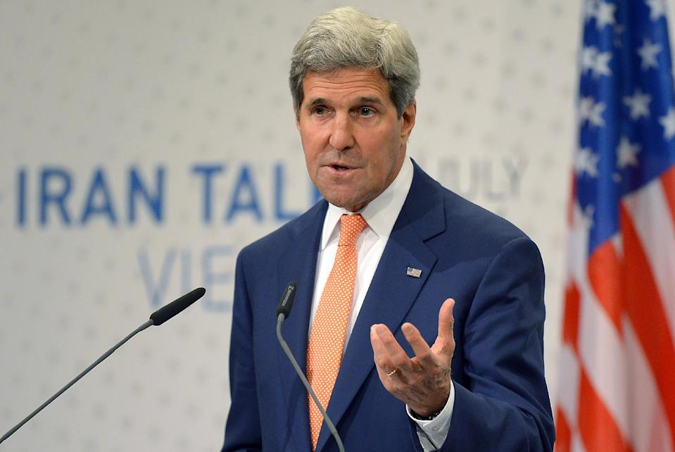 US Secretary of State John Kerry speaks during his final press conference after talks over Tehran's nuclear program at the Austria Convention Centre in Vienna, on July 15, 2014 (AFP Photo/Joe Klamar)