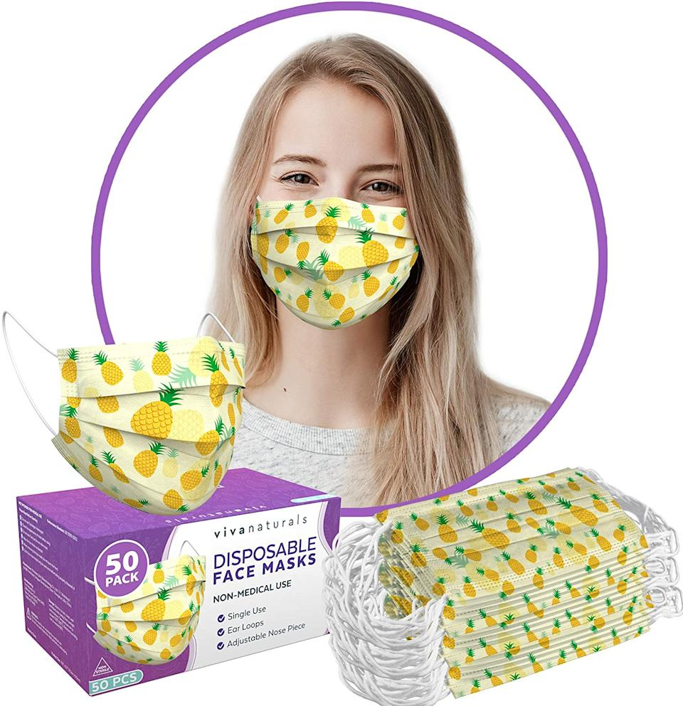 Viva Naturals  Pineapple Disposable Face Mask - Premium 3-Ply Non Medical Mask. Amazon, $21 (originally $25)
