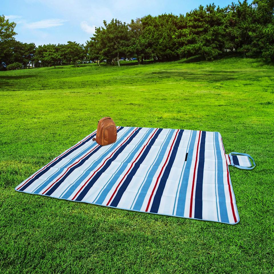 """<h3><a href=""""https://amzn.to/3fFrxlJ"""" rel=""""nofollow noopener"""" target=""""_blank"""" data-ylk=""""slk:Picnic Funwan Extra Large Picnic Blanket"""" class=""""link rapid-noclick-resp"""">Picnic Funwan Extra Large Picnic Blanket</a></h3> <br>The larger your picnic blanket, the easier it is to adhere to that tricky 6-feet-of-separation rule. Since this option measures 80 in. by 80 in., you can have up to three guests safely setting up camp at each corner. <br><br>And while this blanket is just about as spacious as it gets, it also folds down to the size of a purse making it easy to transport. <br><br><br><strong>Picnic Funwan</strong> Extra Large Picnic Blanket, $, available at <a href=""""https://amzn.to/3deo4cf"""" rel=""""nofollow noopener"""" target=""""_blank"""" data-ylk=""""slk:Amazon"""" class=""""link rapid-noclick-resp"""">Amazon</a><br><br><br><br>"""