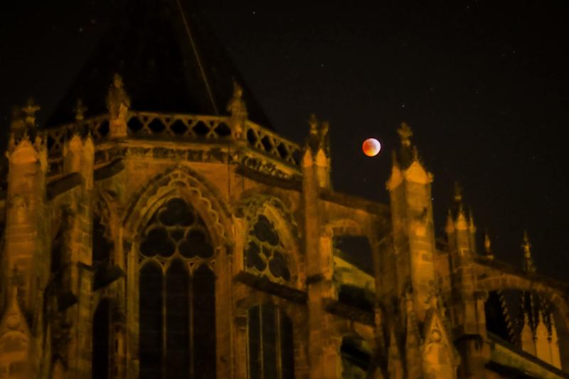 The super blood wolf moon behind Tours Cathedral on Jan. 21 in central France.