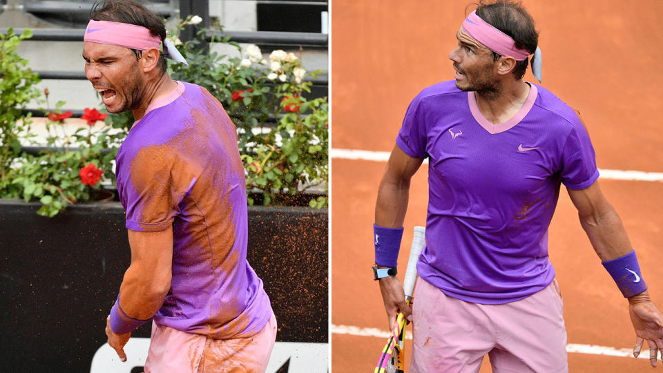 Rafael Nadal, pictured here furious after the fall during the Italian Open final.
