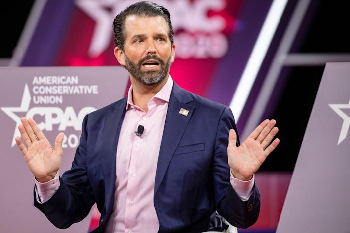 <p>Donald Trump Jr, son of President Donald Trump, speaks on stage during the Conservative Political Action Conference 2020 (CPAC) hosted by the American Conservative Union on February 28, 2020 in National Harbor, MD</p> (Photo by Samuel Corum/Getty Images)