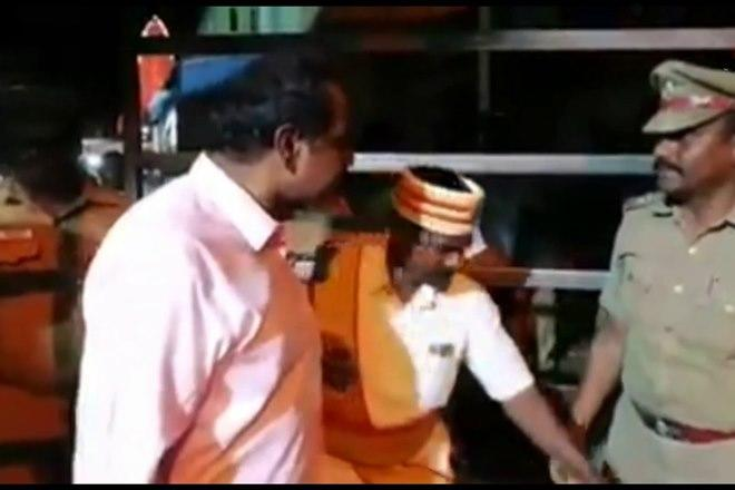 Tamil Nadu collector, colector threatening police officer video, VIP gate at the Varadaraja Perumal Temple, Inspector Ramesh from Tiruvallur