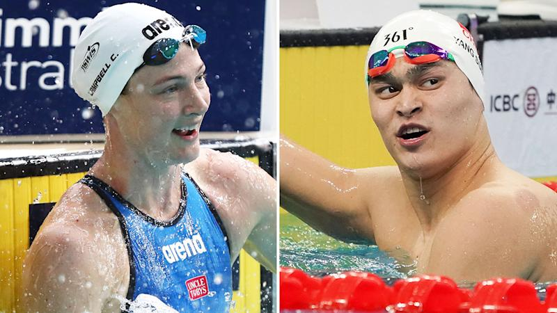 Australian swimmer Cate Campbell has held back from once again criticising Chinese swimmer Sun Yang, who is embroiled in a long-running doping scandal. Pictures: GETTY IMAGES
