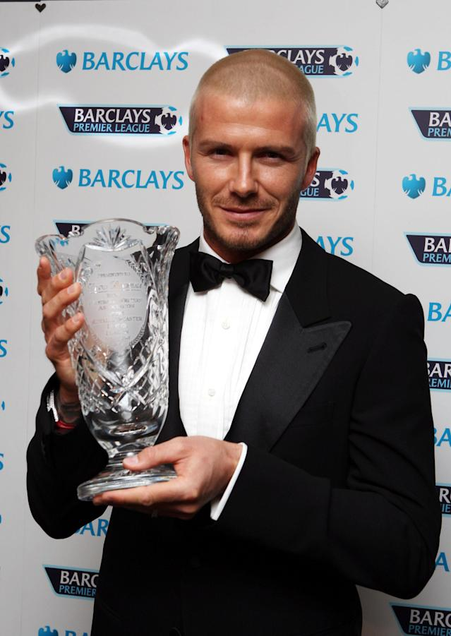File photo dated 06/01/2008 of David Beckham receiving an award from the Football Writers Association for his outstanding achievements in football at The Lancaster Hotel, London.