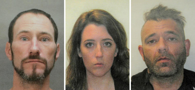 This November 2018 combination photo provided by the Burlington County Prosecutors office shows Johnny Bobbitt (left), Kate McClure (center) and Mark D'Amico (right).  (ASSOCIATED PRESS)