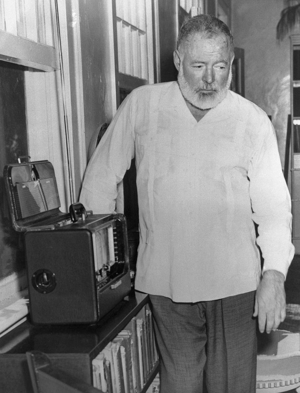 "<p>After nominations in 1947 and 1950, <a href=""https://www.nobelprize.org/nobel_prizes/literature/laureates/1954/award-video.html"" rel=""nofollow noopener"" target=""_blank"" data-ylk=""slk:Hemingway wins"" class=""link rapid-noclick-resp"">Hemingway wins</a> the Nobel Prize for Literature this year. In this photo, taken at his home in Cuba, Hemingway hears the news from the radio.</p>"