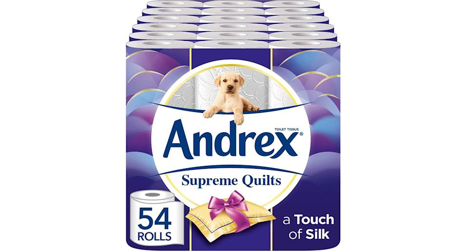 Andrex Supreme Quilts toilet tissue, pack of 54 rolls