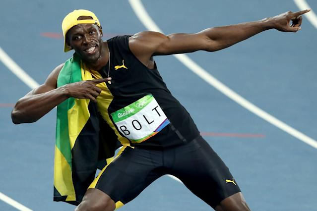 <p>Usain Bolt of Jamaica celebrates winning the Men's 100 meter final on Day 9 of the Rio 2016 Olympic Games at the Olympic Stadium on August 14, 2016 in Rio de Janeiro, Brazil. (Photo by Ezra Shaw/Getty Images) </p>