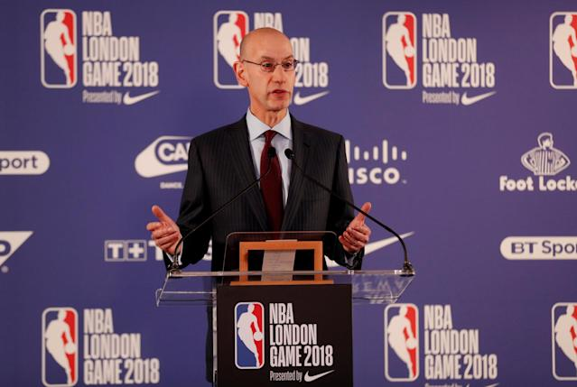 Basketball - NBA - Boston Celtics vs Philadelphia 76ers - O2 Arena, London, Britain - January 11, 2018 NBA commissioner Adam Silver during the pre match press conference REUTERS/Matthew Childs
