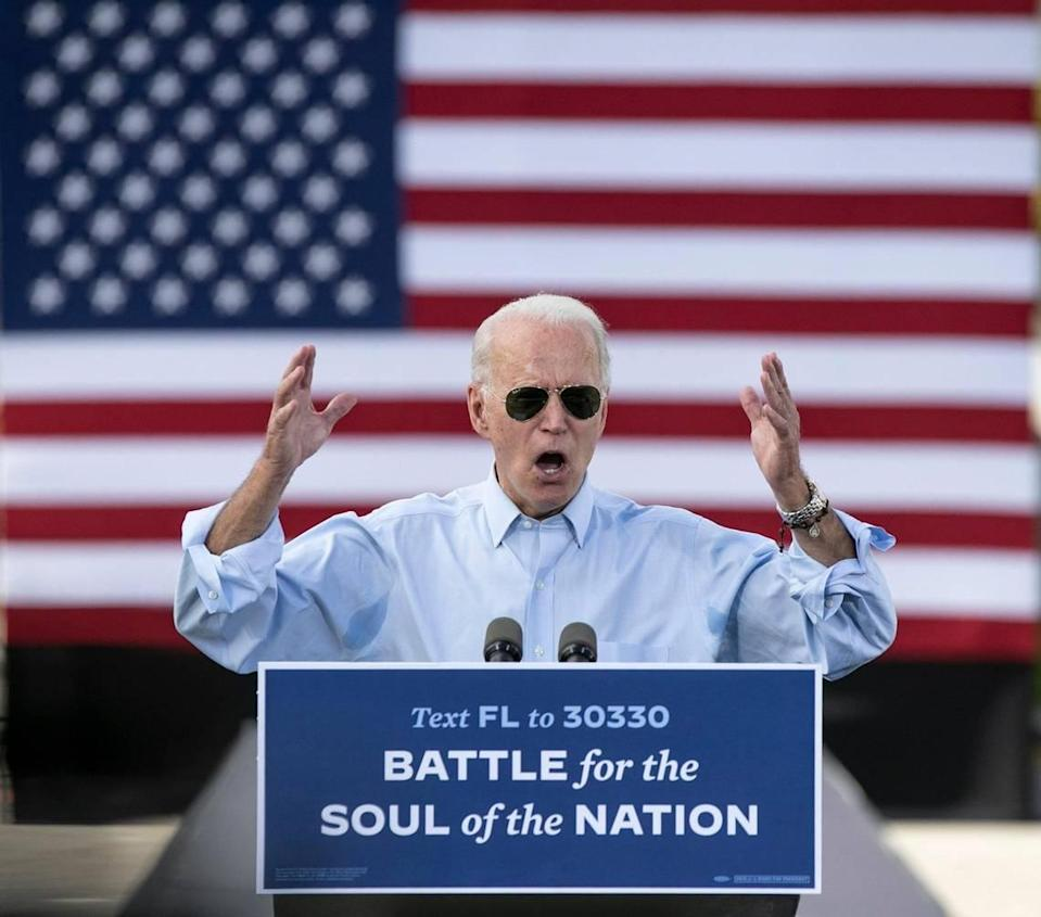 Democratic presidential candidate Joe Biden campaigns at a drive-in rally at Broward College North Campus in Fort Lauderdale on Thursday, Oct. 29, 2020.