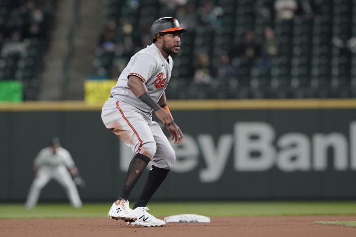 Baltimore Orioles' Maikel Franco leads off from second base after hitting a double during the fourth inning of a baseball game against the Seattle Mariners, Monday, May 3, 2021, in Seattle. (AP Photo/Ted S. Warren)