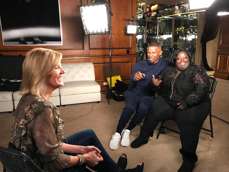 Jamie Foxx and his sister, DeOndra Dixon, share a light moment with NBC's Kate Snow. (Kate Snow)