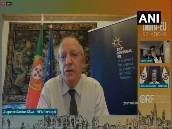 Portuguese Foreign Minister Augusto Santos Silva speaking during a session at the Observer Research Foundation (ORF) on the