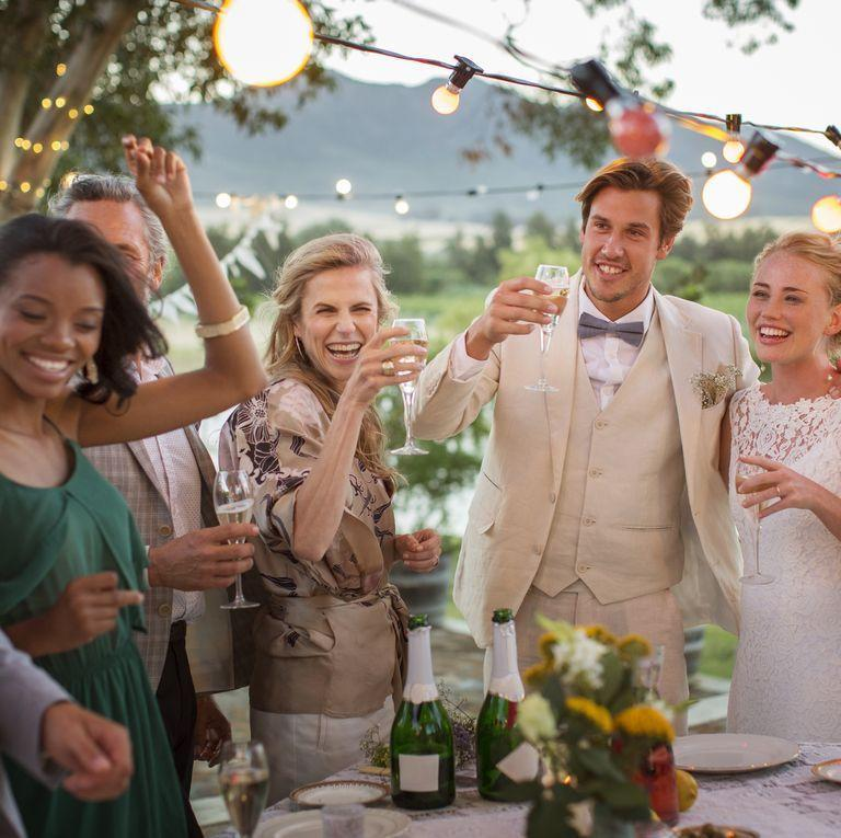 """<p>Save the college horror stories and funny dating escapades for your bachelorette and bachelor parties. """"Toasts should be short and sweet,"""" says Harutyunyan. """"Don't talk about exes, dysfunctional family dynamics, or vent about unrelated drama."""" Remember: This isn't <em>your</em> wedding day so make sure the toast is directed at the couple. </p>"""