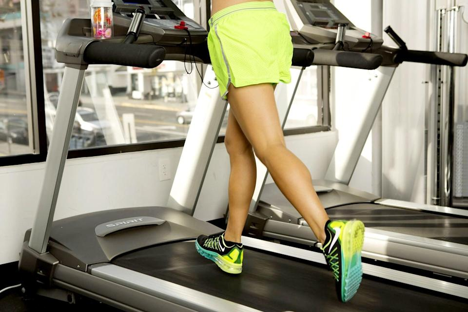 """<p>To rev up your body's calorie burn, do intense 45-minute cardio sessions a few times a week. A <a href=""""http://journals.lww.com/acsm-msse/Abstract/2011/09000/A_45_Minute_Vigorous_Exercise_Bout_Increases.6.aspx"""" class=""""link rapid-noclick-resp"""" rel=""""nofollow noopener"""" target=""""_blank"""" data-ylk=""""slk:study published in the Medicine & Science in Sports & Exercise journal"""">study published in the Medicine & Science in Sports & Exercise journal</a> showed that an intense cardio session can slash an additional 190 calories post-workout. While research is still not solid on what produces this increase in calories burned, most data leans toward the afterburn effect, in which a period of intense activity causes the body's metabolism to spike and burn off more fat than usual. </p> <p>Some intense cardio workouts to try: running, indoor cycling, or interval training (like this <a href=""""https://www.popsugar.com/fitness/Treadmill-Workout-30-Minute-Pyramid-Intervals-14513772"""" class=""""link rapid-noclick-resp"""" rel=""""nofollow noopener"""" target=""""_blank"""" data-ylk=""""slk:pyramid treadmill workout"""">pyramid treadmill workout</a>). </p>"""