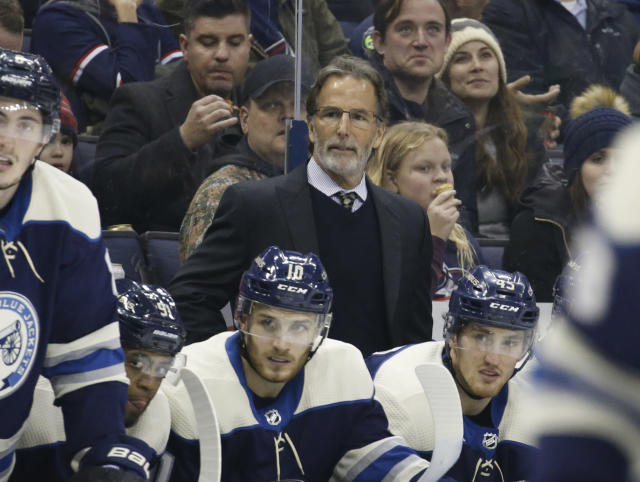 Columbus Blue Jackets head coach John Tortorella watches the puck against the Nashville Predators during the third period of an NHL hockey game Thursday, Jan. 10, 2019, in Columbus, Ohio. The Blue Jackets beat the Predators 4-3 in overtime to give Tortorella his 600th career win. (AP Photo/Jay LaPrete)