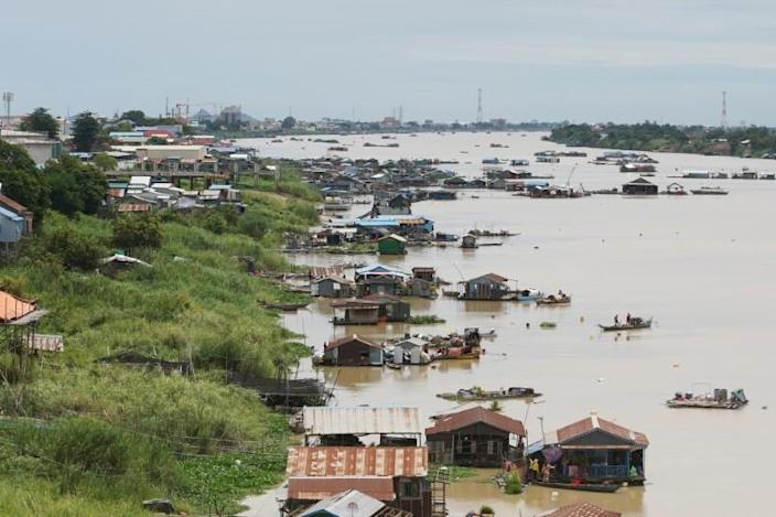 Floating houses are seen on the Tonle Sap River in Prek Pnov district