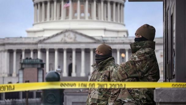 PHOTO: D.C. National Guard troops stand watch at the U.S. Capitol on Jan. 8, 2021, in Washington, D.C. (John Moore/Getty Images)