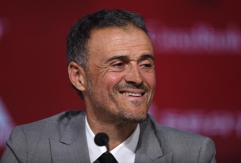 LAS ROZAS, SPAIN - NOVEMBER 27: Luis Enrique attends a press conference as he returns as Spain head coach at the Spanish Football Federation headquarters on November 27, 2019 in Las Rozas, Spain. (Photo by Denis Doyle/Getty Images)