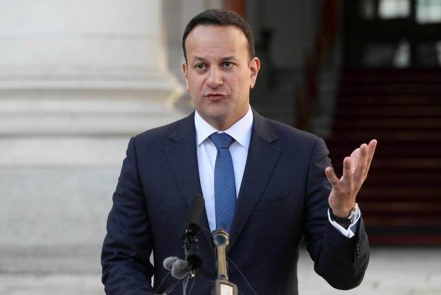 Irish Prime Minister Leo Varadkar speaks to the media outside the Government Buildings in Dublin Wednesday Jan. 16, 2019, after Britain's Parliament discarded Prime Minister Theresa May's Brexit deal in a historic defeat for the government late Tuesday. (Brian Lawless/PA via AP)