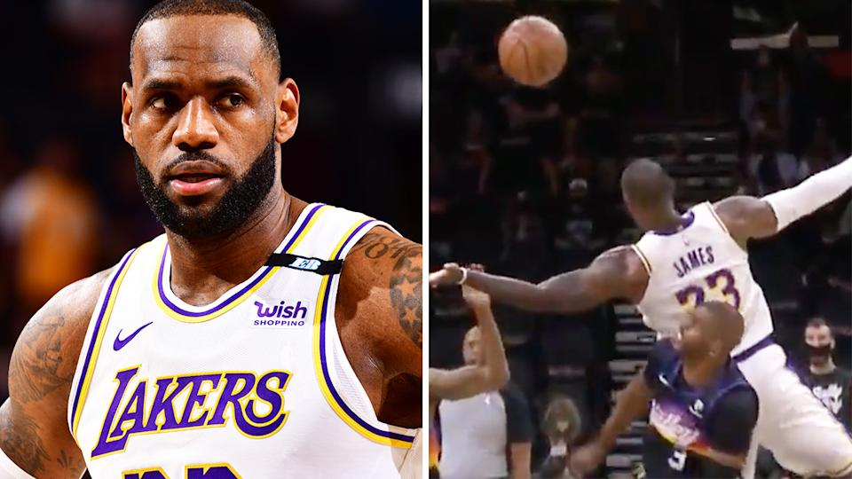LeBron James was left shaken up after an 'overly aggressive' box-out from veteran Phoenix guard Chris Paul. Pictures: Getty Images/Twitter