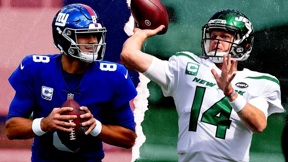 Daniel Jones and Sam Darnold treated art