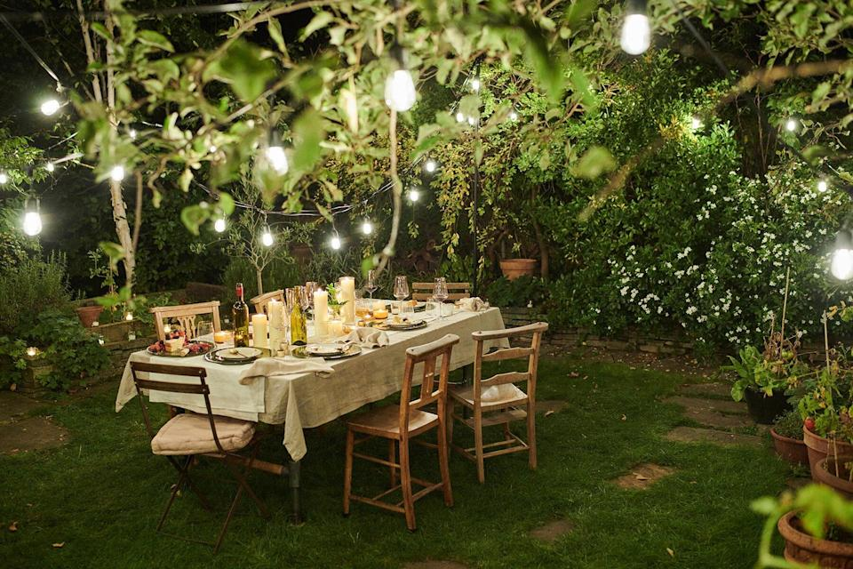 Dining table outside in a garden