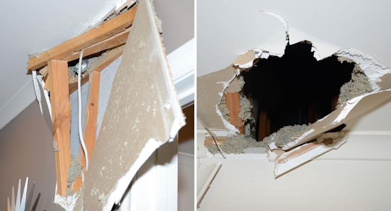 Inside a Carrum Downs home after a missile crashed through the ceiling of its bathroom.