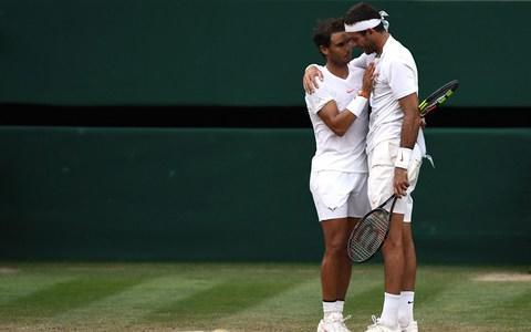 <span>Rafael Nadal of Spain and Juan Martin Del Potro of Argentina embrace</span> <span>Credit: GETTY IMAGES </span>