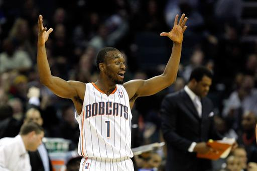 CHARLOTTE, NC - JANUARY 14: Kemba Walker #1 of the Charlotte Bobcats celebrates after a basket against the Golden State Warriors during their game at Time Warner Cable Arena on January 14, 2012 in Charlotte, North Carolina. (Photo by Streeter Lecka/Getty Images)