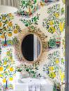 <p>For those risk-takers and fans of vivacious color, the exuberant scheme is for you. Caponigro states the key ingredients to this bold mode include attention-grabbing patterns, unexpected combinations, and a fearless confidence. In this powder room, Pencil & Paper Co. uses Citrus Garden wallpaper to liven up the delicate woven mirror. </p>