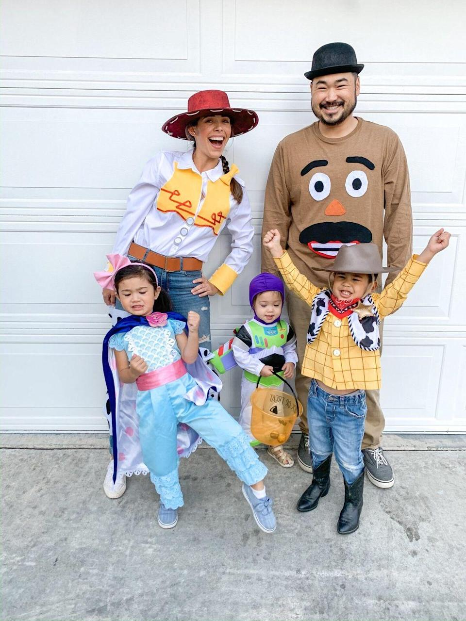 """<p>To infinity and beyond! Get the whole family involved with these fun <em><a href=""""http://somekindamama.com/is-halloween-cancelled-nope/"""" rel=""""nofollow noopener"""" target=""""_blank"""" data-ylk=""""slk:Toy Story"""" class=""""link rapid-noclick-resp"""">Toy Story</a></em> costumes.<br> </p>"""
