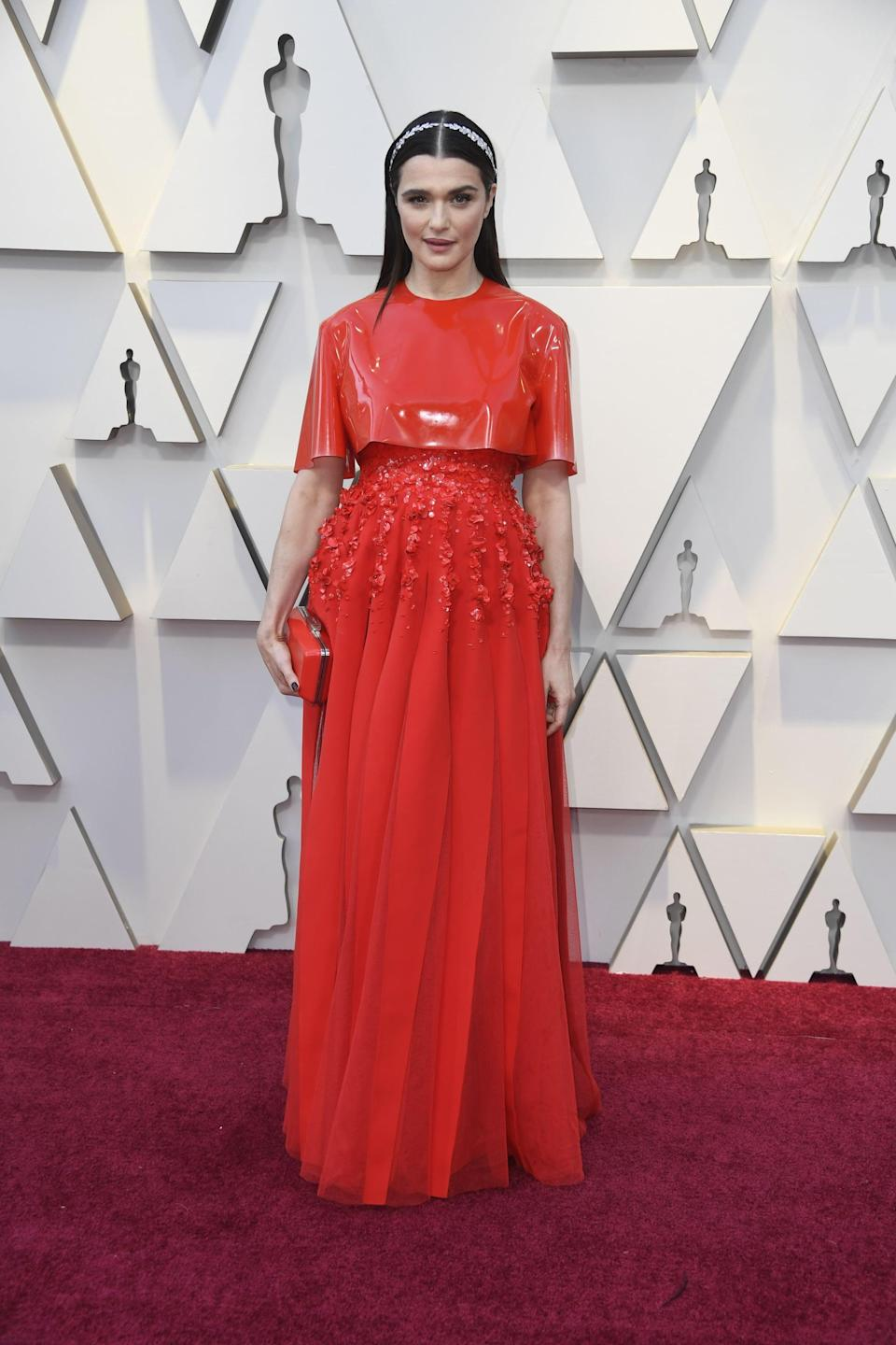 <p>Wearing a Givenchy Haute Couture dress with Cartier jewels.</p>