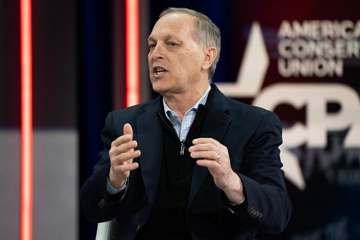 Representative Andy Biggs, a Republican from Arizona, speaks during a panel discussion at the Conservative Political Action Conference (CPAC) in Orlando, Florida, U.S., on Saturday, Feb. 27, 2021. (Elijah Nouvelage/Bloomberg via Getty Images)