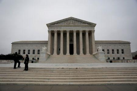 The Supreme Court is seen ahead of the Senate voting to confirm Judge Neil Gorsuch as an Associate Justice