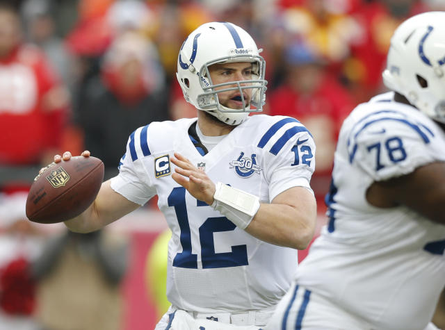 Indianapolis Colts quarterback Andrew Luck (12) looks for a receiver during the first half of an NFL football game against the Kansas City Chiefs in Kansas City, Mo., Sunday, Dec. 22, 2013. (AP Photo/Ed Zurga)