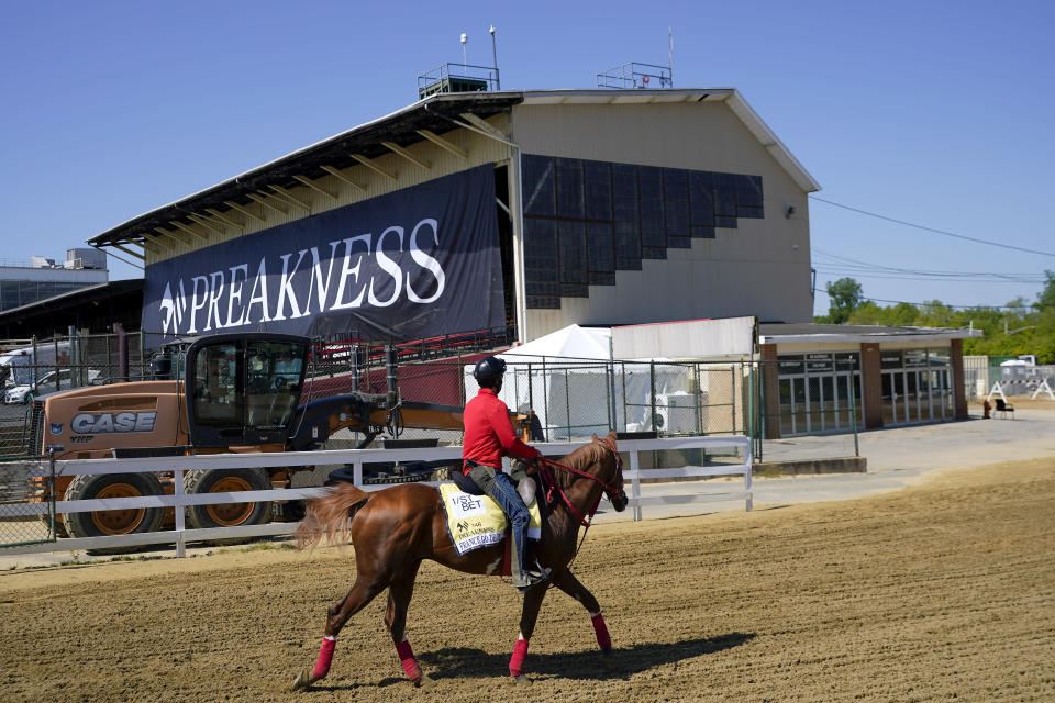 An exercise ride works out with France Go De Ina during a morning workout at Pimlico Race Course ahead of the Preakness Stakes horse race, Tuesday, May 11, 2021, in Baltimore. (AP Photo/Julio Cortez)