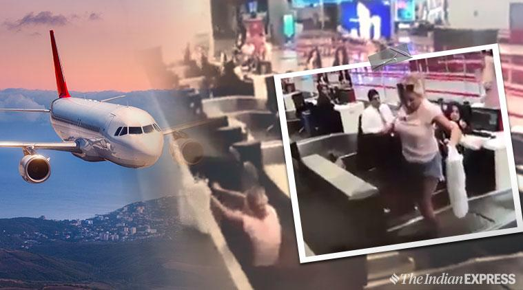 turkey, Woman luggage belt viral video, Conveyor Belt, aircraft, airport check-in, woman funny viral video, aircraft viral clip, cctv