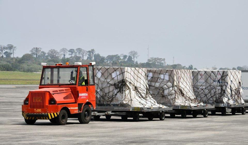 A consignment of Sinopharm Covid-19 vaccines heading for Malabo in Equatorial Guinea on Wednesday. Photo: Xinhua