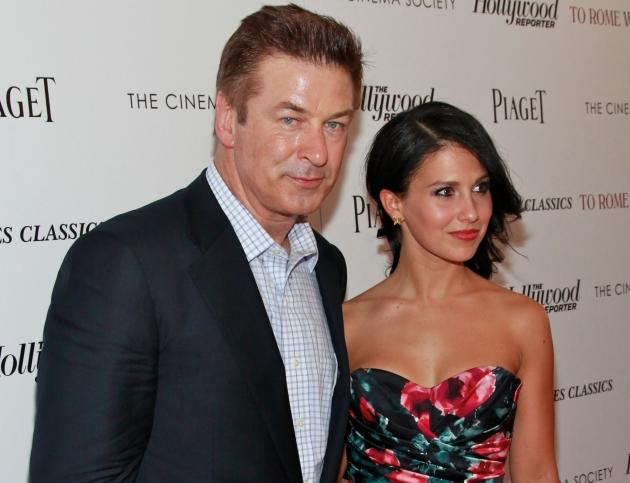 Alec Baldwin and Hilaria Thomas step out at a screening of 'To Rome With Love' at The Paris Theatre in New York City on June 20, 2012 -- Getty Images