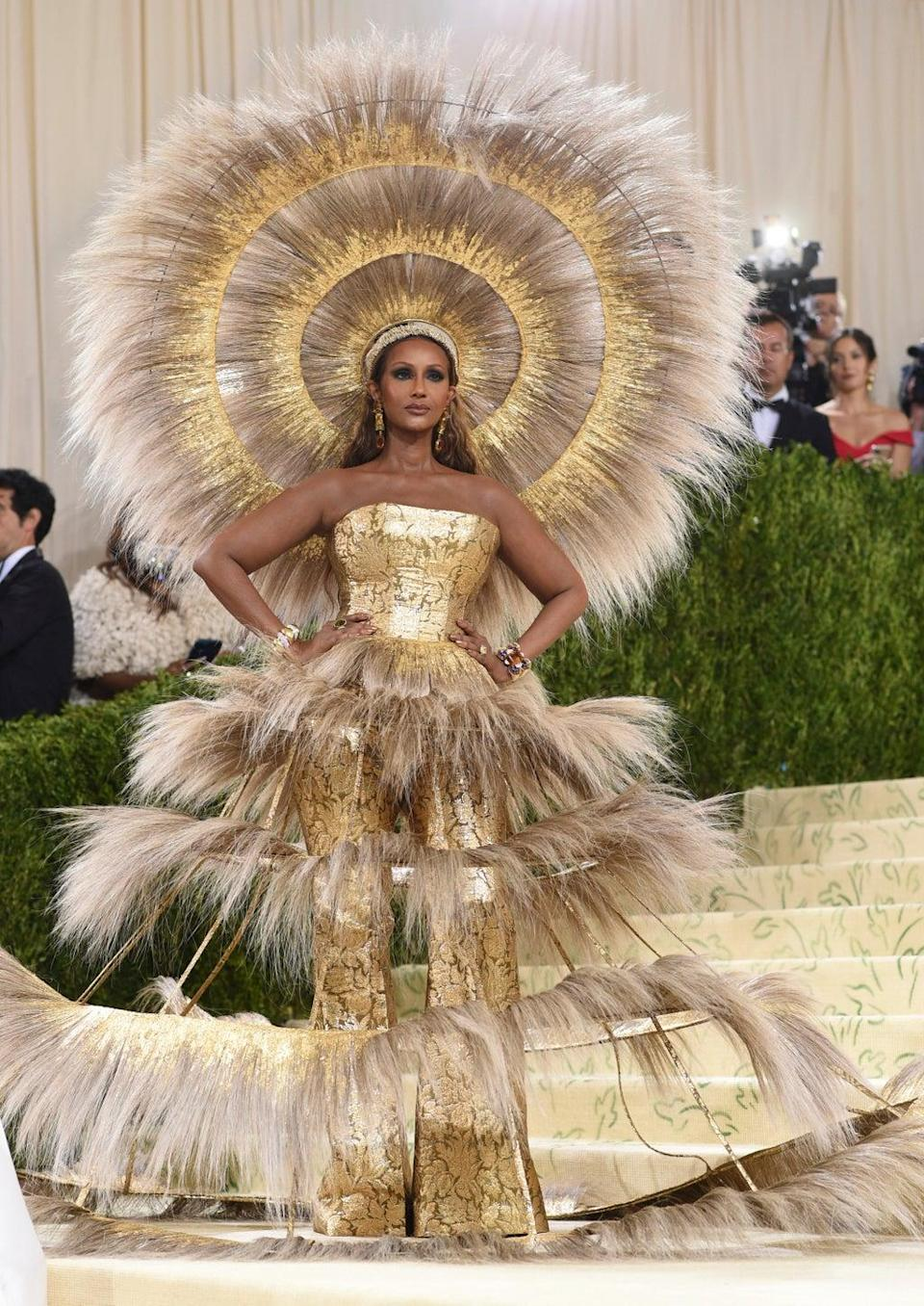 Iman wore an elaborate feather outfit at the Met Gala (Evan Agostini/Invision/AP) (AP)