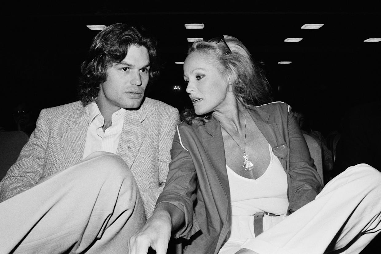 American actor Harry Hamlin and Swiss actress and a sex symbol Ursula Andress attend the 1979 Deauville American Film Festival. (Photo by © Caterine Milinaire/Sygma via Getty Images)