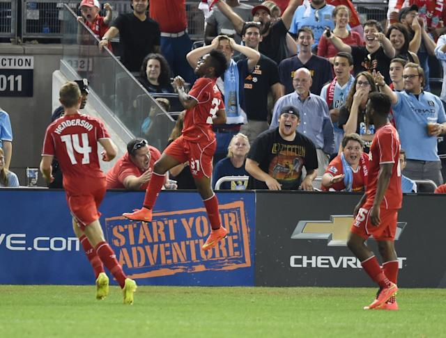 Liverpool's Raheem Sterling scores during the football friendly against Manchester City at Yankee Stadium on July 30, 2014 (AFP Photo/Timothy A. Clary)